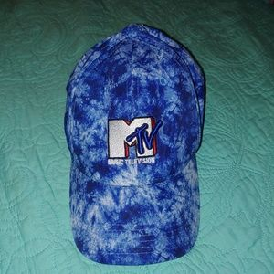 MTV blue tie dye hat 90s